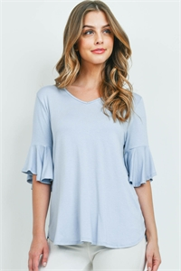 S10-9-3-PPT2191-DSTBL - BELL SLEEVES V-NECK ROUND HEM TOP- DUSTY BLUE 1-2-2-2