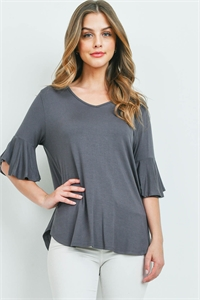 S14-9-3-PPT2191-LTCMT-1 - BELL SLEEVES V-NECK ROUND HEM TOP- LIGHT CEMENT 0-0-5-1