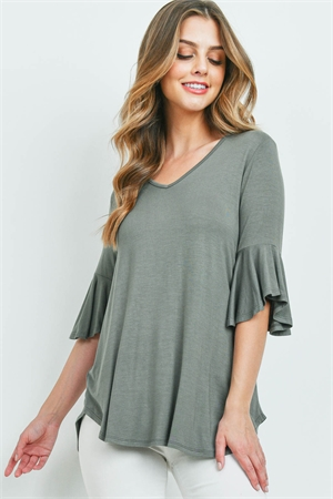 S14-9-3-PPT2191-LTOV-1 - BELL SLEEVES V-NECK ROUND HEM TOP- LIGHT OLIVE 0-2-2-2