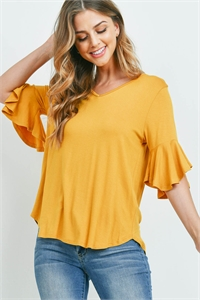 S14-9-3-PPT2191-MU-1 - BELL SLEEVES V-NECK ROUND HEM TOP- MUSTARD 3-0-0-2