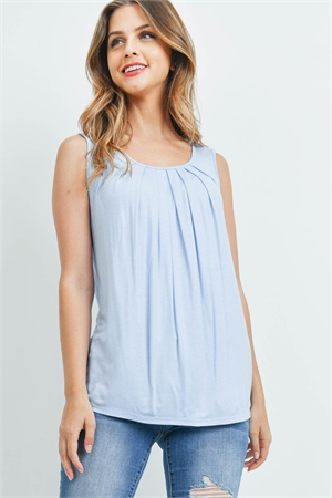 S4-10-1-PPT2195-ICBL - SOLID SLEEVELESS FRONT PLEAT TOP- ICE BLUE 1-2-2-2