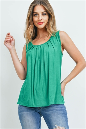 S4-1-2-PPT2195-KG - SOLID SLEEVELESS FRONT PLEAT TOP- KELLY GREEN 1-2-2-2