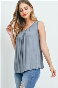 S11-13-3-PPT2195-SLTGY-1 - SOLID SLEEVELESS FRONT PLEAT TOP- SLATE GREY 1-1-2-2