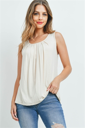SA4-4-2-PPT2195-TP - SOLID SLEEVELESS FRONT PLEAT TOP- TAUPE 1-2-2-2