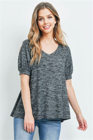 S16-11-1-PPT2196-BKCHB-1 - PUFF SLEEVES V-NECK WAFFLE TOP- BLACK CHAMBRAY 0-2-2-2