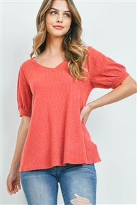 S14-9-1-PPT2196-CRL-1 - PUFF SLEEVES V-NECK WAFFLE TOP- CORAL 0-1-1-2