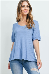 S14-9-1-PPT2196-DNM-1 - PUFF SLEEVES V-NECK WAFFLE TOP- DENIM 0-2-1-2