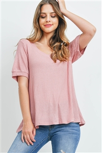 S14-9-1-PPT2196-LTMV-1 - PUFF SLEEVES V-NECK WAFFLE TOP- LIGHT MAUVE 0-2-2-2