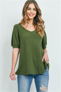 S16-11-1-PPT2196-OV-1 - PUFF SLEEVES V-NECK WAFFLE TOP- OLIVE 5-0-0-0