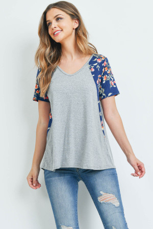 S13-7-4-PPT2201-HGNVCB - FLORAL CONTRAST TWO TONED V-NECK TOP- HEATHER GREY/NAVY COMBO 1-2-2-2