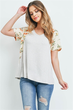 S11-11-4-PPT2201-SXOTKHK - FLORAL CONTRAST TWO TONED V-NECK TOP- SEXY OATMEAL/KHAKI 1-2-2-2