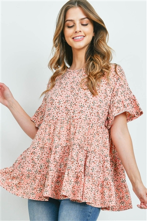 S15-7-4-PPT2202-BLSCB-1 - LAYARED RUFFLE DETAIL FLORAL TOP- BLUSH COMBO 0-1-2-2