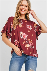 S10-8-2-PPT2203-BU - RUFFLE SLEEVES FLORAL PRINT TOP- BURGUNDY 1-2-2-2