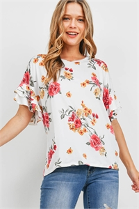 S10-18-3-PPT2203-IV-1 - RUFFLE SLEEVES FLORAL PRINT TOP- IVORY 1-1-1-1