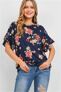 S9-9-4-PPT2203-NV - RUFFLE SLEEVES FLORAL PRINT TOP- NAVY 1-2-2-2
