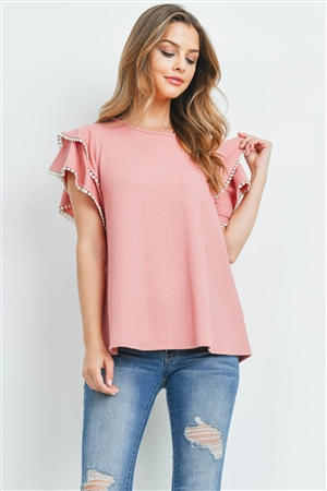 S9-16-1-PPT2205-PK-1 - POMPOM DETAIL LAYERED CAP SLEEVE KNIT RIB TOP- PINK 0-2-2-2