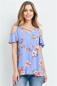 S16-11-1-PPT2206-DNMCB-1 - FLORAL PRINT OFF-SHOULDER CRISS CROSS TOP- DENIM COMBO 0-1-2-2