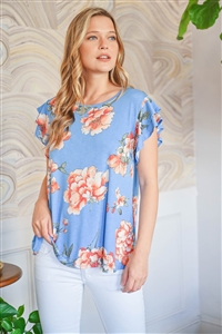 S10-14-3-PPT2207-DNMCB-1 - CAP SLEEVES FLORAL PRINT TOP- DENIM COMBO 0-2-1-0