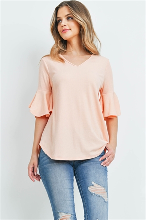 S14-11-4-PPT2208-APRCT-1 - V-NECK RUFFLE SLEEVES RIB DETAIL TOP- APRICOT 0-2-2-2