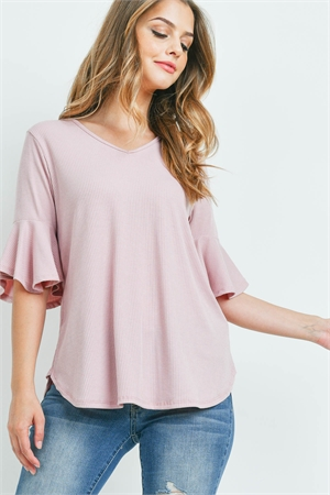 S14-11-4-PPT2208-BLN-1 - V-NECK RUFFLE SLEEVES RIB DETAIL TOP- BELLINI 0-2-2-2