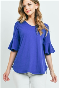 S5-2-4-PPT2208-FRSRYL - V-NECK RUFFLE SLEEVES RIB DETAIL TOP- FRESH ROYAL 1-2-2-2