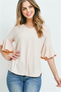 S8-6-4-PPT2208-ND - V-NECK RUFFLE SLEEVES RIB DETAIL TOP- NUDE 1-2-2-2
