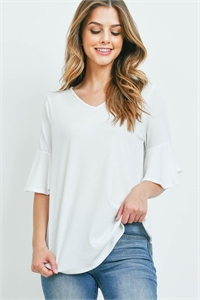 S14-11-4-PPT2208-OFW-1 - V-NECK RUFFLE SLEEVES RIB DETAIL TOP- OFF-WHITE 0-2-2-1