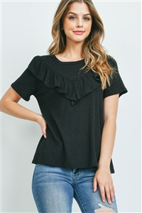 S16-7-4-PPT2212-BK-1 - V-SHAPE RUFFLE DETAIL SHORT SLEEVE RIB TOP- BLACK 0-2-1-1