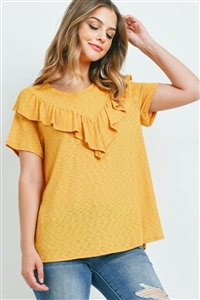 S16-7-4-PPT2212-MU-1 - V-SHAPE RUFFLE DETAIL SHORT SLEEVE RIB TOP- MUSTARD 0-1-1-2
