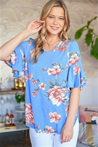 S11-12-1-PPT2213-DNMCB - BELL SLEEVE FLORAL PRINT V-NECK TOP- DENIM COMBO 0-2-2-0