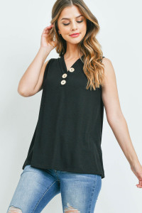 S16-3-3-PPT2214-BK - V-NECK RIB BUTTON DETAIL TANK TOP- BLACK 1-2-2-2