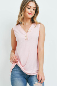 S16-1-1-PPT2214-IMPK - V-NECK RIB BUTTON DETAIL TANK TOP- IMPATIENT PINK 1-2-2-2