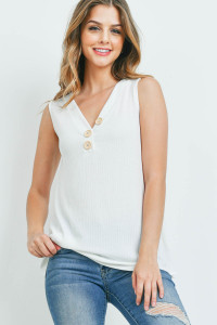 S10-16-3-PPT2214-IV-1 - V-NECK RIB BUTTON DETAIL TANK TOP- IVORY 0-2-1-2