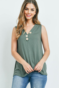 S10-16-3-PPT2214-MLGN-1 - V-NECK RIB BUTTON DETAIL TANK TOP- MILITARY GREEN 0-2-2-1