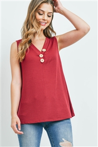 S10-16-3-PPT2214-WN-1 - V-NECK RIB BUTTON DETAIL TANK TOP- WINE 0-0-1-1