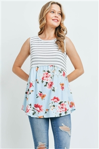 S15-9-1-PPT2215-OFWBKBL-1 - POMPOM DETAIL STRIPES-FLORAL CONTRAST TOP- OFF-WHITE/BLACK/BLUE 0-2-0-2