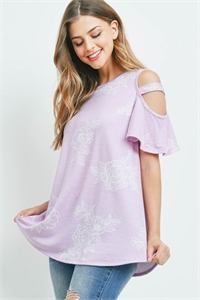 S10-17-3-PPT2216-LVD-1 - FLORAL PRINT OFF-SHOULDER ROUND NECK TOP- LAVENDER 0-1-3-1