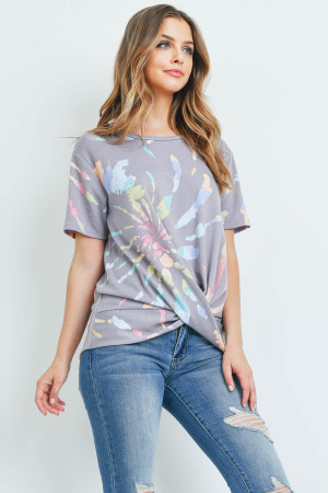 S16-10-2-PPT2218-GY-1 - ROUND NECK TIE DYE KNOT TOP- GREY 1-2-2-1