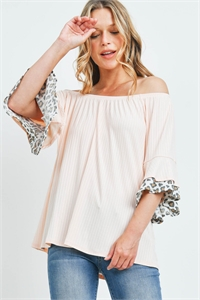 S11-18-3-PPT2222-BLSIVTP - OFF-SHOULDER BRUSHED RIB BELL LEOPARD SLEEVES TOP- BLUSH/IVORY/TAUPE 1-2-2-2