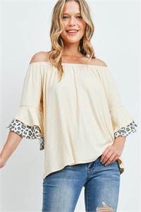 S9-14-3-PPT2222-CRMIVTP - OFF-SHOULDER BRUSHED RIB BELL LEOPARD SLEEVES TOP- CREAM/IVORY/TAUPE 1-2-2-2