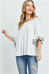 S9-20-3-PPT2222-IVIVTP-1 - OFF-SHOULDER BRUSHED RIB BELL LEOPARD SLEEVES TOP- IVORY/IVORY/TAUPE 3