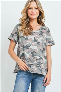 S7-3-3-PPT2223-HGYSLMCHL - SHORT SLEEVES V-NECKLINE CAMOUFLAGE TOP- HEATHER GREY/SALMON/CHARCOAL 1-2-2-2