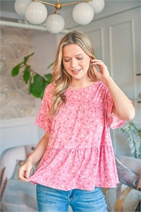 S9-18-2-PPT2225-BLS-1 -RUFFLE SLEEVE FLORAL PRINT TOP-BLUSH 0-2-2-2
