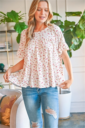 S9-18-2-PPT2225-IV-1 -RUFFLE SLEEVE FLORAL PRINT TOP-IVORY 0-2-2-2