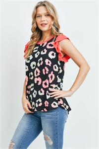 S16-10-2-PPT2226-BKCBCRL-1 - SOLID RUFFLE CAP SLEEVE ANIMAL PRINT TOP- BLACK COMBO/CORAL 0-2-2-2