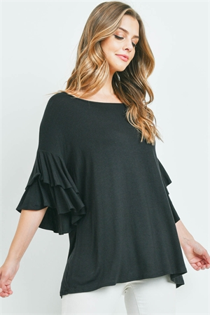S9-3-2-PPT2229-BK - BOATNECK LAYERED RUFFLE SLEEVES TOP- BLACK 1-2-2-2