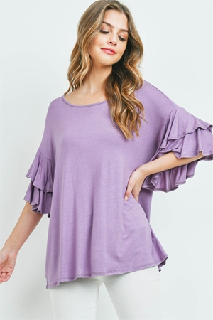 S16-10-1-PPT2229-DSTLVD-1 - BOATNECK LAYERED RUFFLE SLEEVES TOP- DUSTY LAVENDER 0-2-2-2