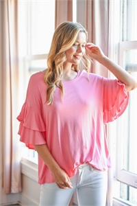 S16-10-1-PPT2229-LTCRL-1 - BOATNECK LAYERED RUFFLE SLEEVES TOP- LIGHT CORAL 1-0-2-1