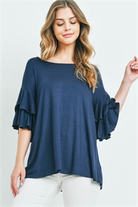 S16-10-1-PPT2229-NV-1 - BOATNECK LAYERED RUFFLE SLEEVES TOP- NAVY 1-2-1-1