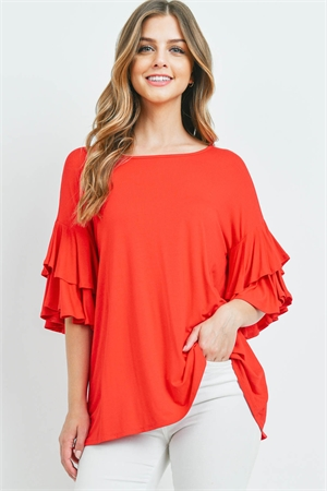 S16-10-1-PPT2229-RD-1 - BOATNECK LAYERED RUFFLE SLEEVES TOP- RED 2-2-0-1